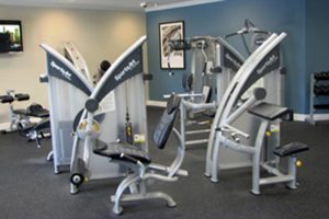 Fitness equipment in a workout room